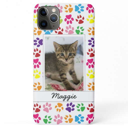 Cute Colorful Pet Print Pattern Your Pet Photo iPhone 11 Pro Max Case