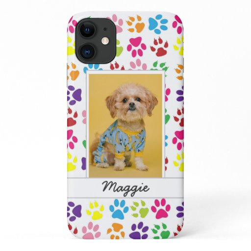 Cute Colorful Pet Print Pattern Your Pet Photo iPhone 11 Case