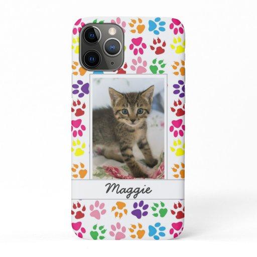Cute Colorful Pet Print Pattern Your Pet Photo iPhone 11 Pro Case