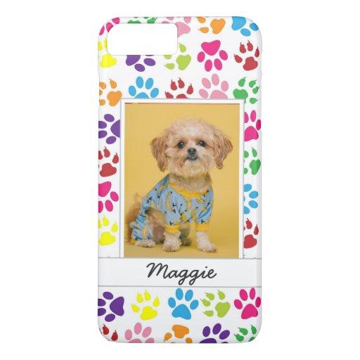 Cute Colorful Pet Print Pattern Your Pet Photo iPhone 8 Plus/7 Plus Case