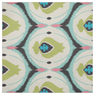 Cute colorful pink mint ikat tribal patterns fabric