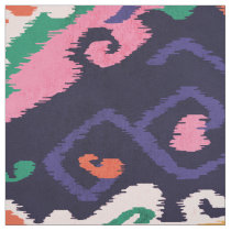 Cute colorful pink navy blue ikat tribal patterns fabric