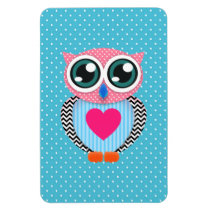 Cute Colorful Pink Polka Dots Funny Owl Magnet