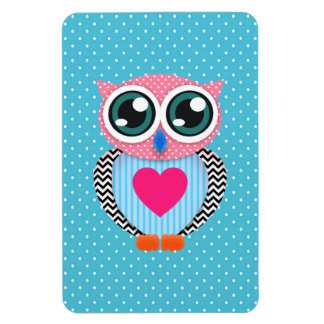 Cute Colorful Pink Polka Dots Funny Owl Rectangular Photo Magnet