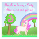 Cute & Colorful Pink Pony Cartoon Party Invite