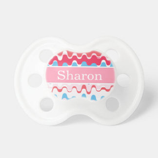 Cute colorful pink red abstract pattern monogram BooginHead pacifier
