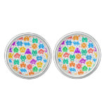 Cute colorful pixelated monsters patterns cufflinks