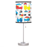 Cute Colorful Planes, Trains and Cars Collage Desk Lamp