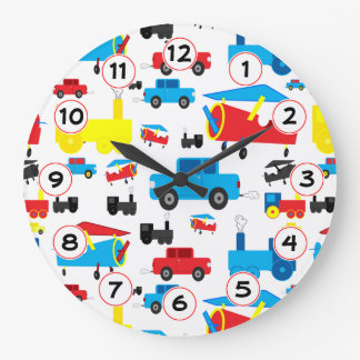 Cute Colorful Planes, Trains and Cars Collage Large Clock