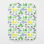 Cute Colorful Planes, Trains and Cars Collage Baby Burp Cloth