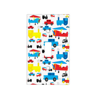 Cute Colorful Planes, Trains, and Cars Pattern Light Switch Cover