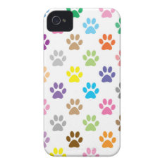 Cute Colorful Puppy Paw Prints Pattern Iphone 4 Cover at Zazzle