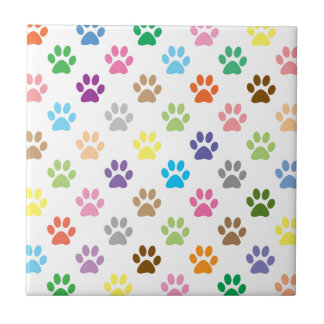 Cute colorful puppy paw prints pattern tile