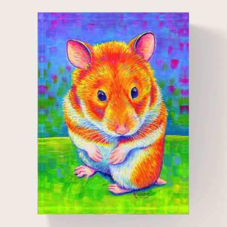 Cute Colorful Rainbow Hamster Glass Paperweight