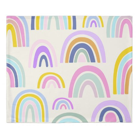 Cute Colorful Rainbow Pattern in Bright Pastels Duvet Cover