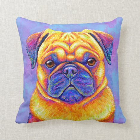 Cute Colorful Rainbow Pug Dog Throw Pillow