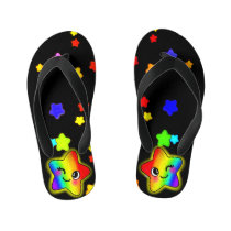 Cute Colorful Rainbow Stars with Smiling Twinkle Kid's Flip Flops