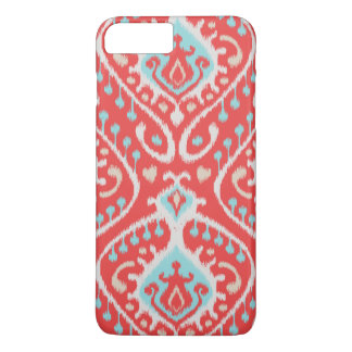 Cute colorful red turquoise girly ikat tribal patt iPhone 7 plus case