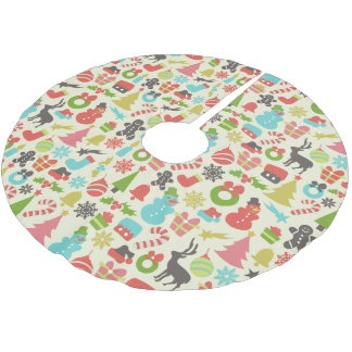 Cute Colorful Retro Christmas Brushed Polyester Tree Skirt