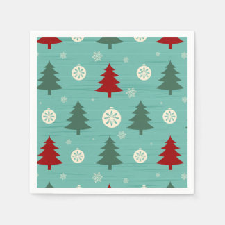 Cute colorful retro christmas pattern standard cocktail napkin
