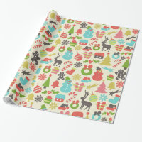Cute Colorful Retro Christmas Wrapping Paper