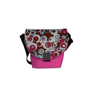 Cute Colorful Retro Circles Pink Messenger Bag
