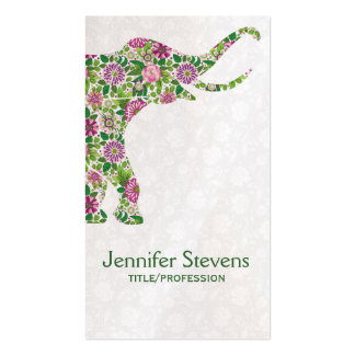 Cute Colorful Retro Floral Elephant 2 Double-Sided Standard Business Cards (Pack Of 100)