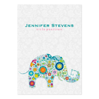 Cute Colorful Retro Floral Elephant Large Business Cards (Pack Of 100)
