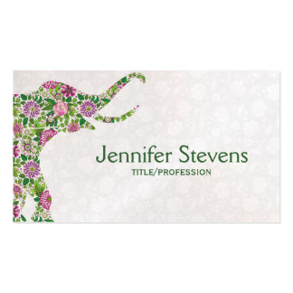 Cute Colorful Retro Floral Elephant Business Card