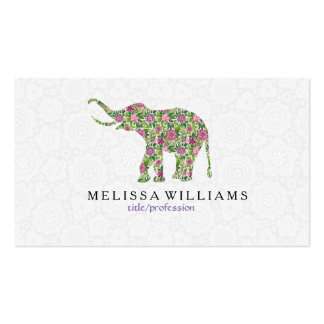 Cute Colorful Retro Floral Elephant Illustration Business Card