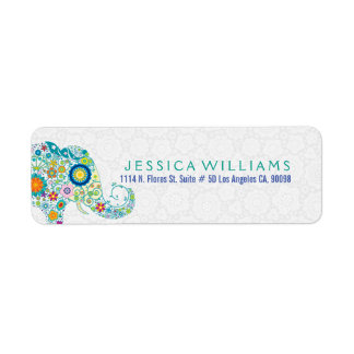 Cute Colorful Retro Floral Elephant Label