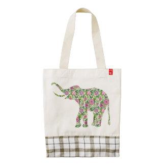 Cute Colorful Retro Floral Elephant Zazzle HEART Tote Bag