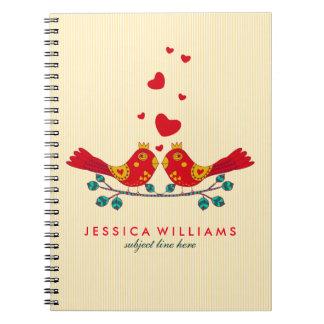 Cute Colorful Retro Floral Love Birds 3 Notebook