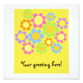cute, colorful, retro flower yellow greeting card personalized invitation