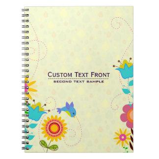 Cute Colorful Retro Flowers & Birds Illustration Notebook