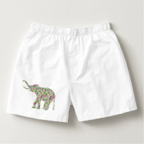 Cute Colorful Retro Flowers Elephant Illustration Boxers