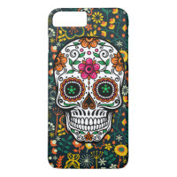 Cute Colorful Retro Flowers Sugar Skull iPhone 8 Plus/7 Plus Case