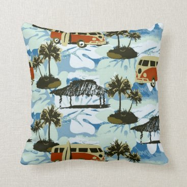 Beach Themed Cute Colorful Retro Hawaii Beach Wave Surf Pattern Throw Pillow