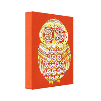 Cute Colorful Retro Owl Art on Canvas Canvas Print