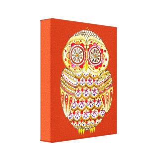 Cute Colorful Retro Owl Art on Canvas Canvas Print