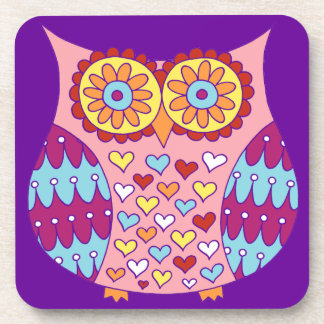Cute Colorful Retro Owl Coasters - Set of 6