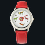 "Cute Colorful Retro Ponies and Flower Horse Wrist Watch<br><div class=""desc"">This cute and colorful horse watch features 4 colorful retro ponies and a red and green flower.  ~~</div>"