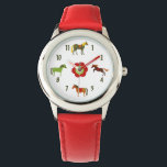 """Cute Colorful Retro Ponies and Flower Horse Wrist Watch<br><div class=""""desc"""">This cute and colorful horse watch features 4 colorful retro ponies and a red and green flower.  ~~</div>"""