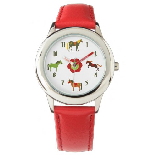 Cute Colorful Retro Ponies and Flower Horse Wrist Watch