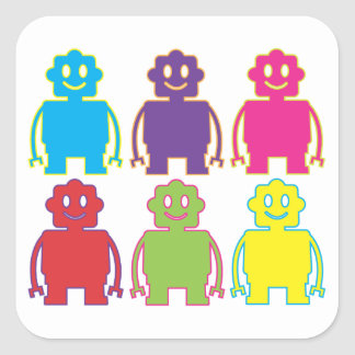 Cute Colorful Robots Square Sticker
