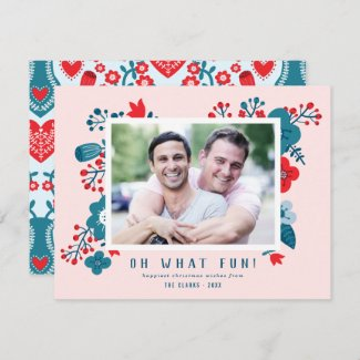 Cute Colorful Scandinavian Floral Couples Christmas Photo Holiday Card