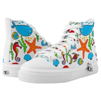 Cute Colorful Sea-Animals Pattern Printed Shoes