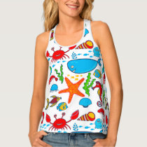 Cute Colorful Sea Animals Tank Top