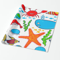 Cute Colorful Sea-Life Illustration Pattern Wrapping Paper