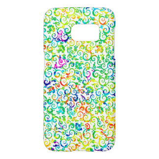 Cute colorful seamless flowers pattern samsung galaxy s7 case
